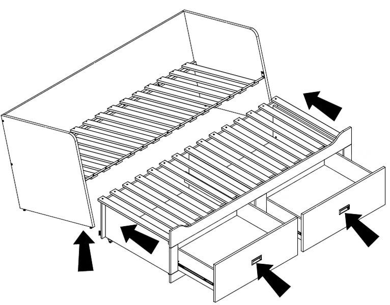 9bc6410b8abd ... Rozkladcia posteľ so zásuvkami Bergen 80x200 cm