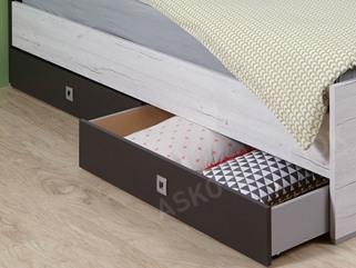 03ebc26ed69af Sada úložných zásuviek pod posteľ Cariba, bielený dub/lávová, na kolieskach  ...