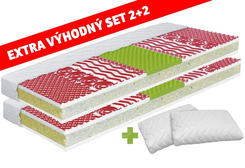Set matracov a vankúšov MEDIXO VELVET 90x200 + VISCO AIR MAX
