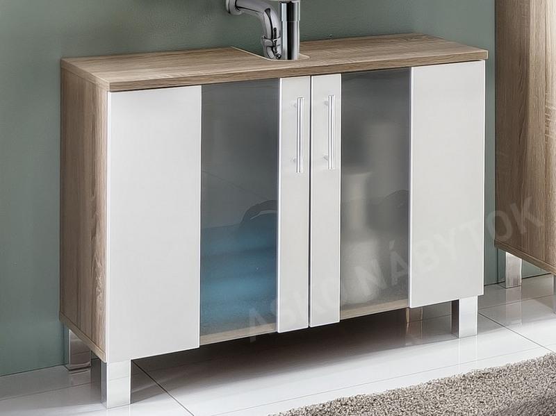 ff4b3a4ea Kúpeľňová skrinka pod umývadlo Porto, dub sonoma/biela | ASKO - NÁBYTOK