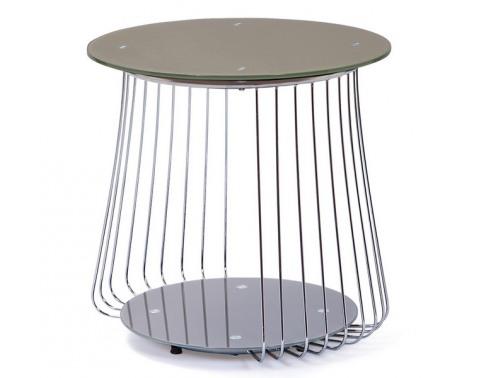 Odkladací stolík Rivoli, kov/cappuccino sklo