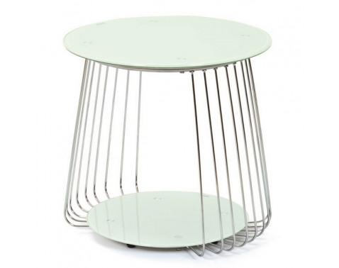 Odkladací stolík Rivoli, kov/biele sklo