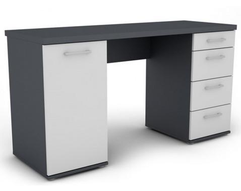 E-shop Písací stôl Walter, grafitovo sivý / biely