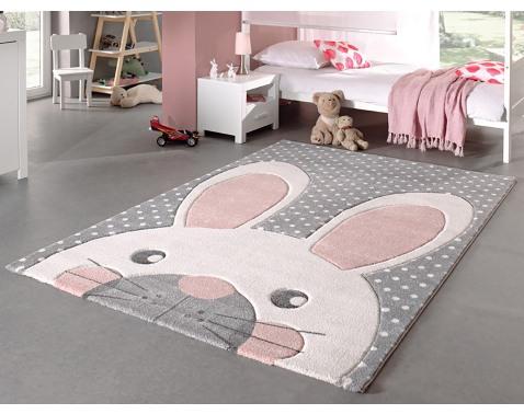 Detský koberec Diamond Kids 120x170 cm, šedý motív zajačik%