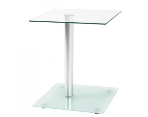 Prístavný stolík Quadrat, číre/mliečne sklo%