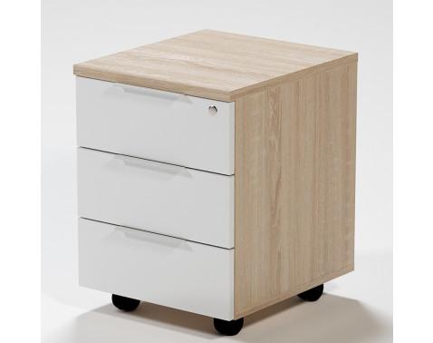 Zásuvkový kontajner na kolieskach Home Office, dub sonoma/biela%