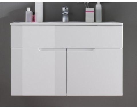Kúpeľňová skrinka s umývadlom Spice, lesklá biela%