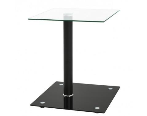 Prístavný stolík Quadrat, číre/čierne sklo%