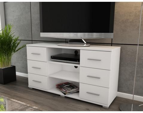 Vysoký TV stolík Oskar TV, biely, výška 65 cm