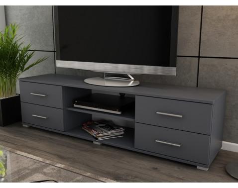 Široký TV stolík Oskar TV, grafitový, šírka 180 cm%