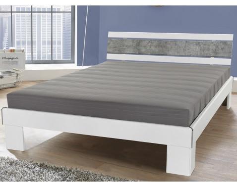 Posteľ Rhone 140x200 cm, biela/šedý betón%