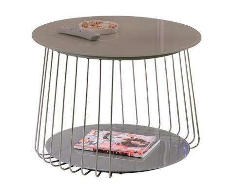 Konferenčný stolík Riva, kov/cappuccino sklo