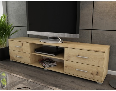 Široký TV stolík Oskar TV, dub artisan, šířka 180 cm%