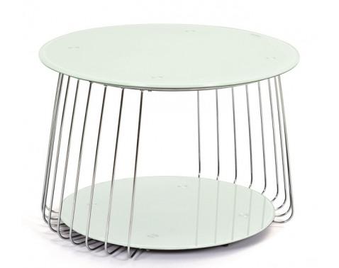 Konferenčný stolík Riva, kov/biele sklo