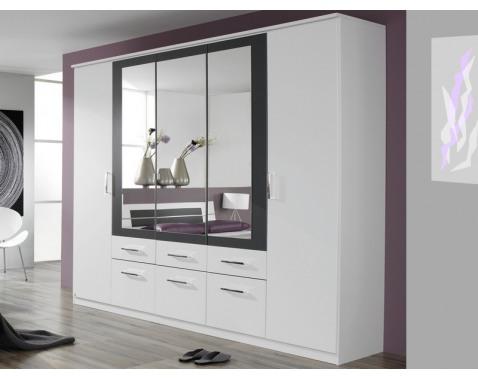 E-shop Šatníková skriňa Burano, 225 cm, biela/sivá