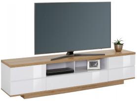 Široká TV skrinka Typ 7714, dub riviéra / biely lesk