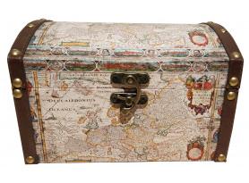 Úložná truhlica s motívom mapy šírka 27 cm