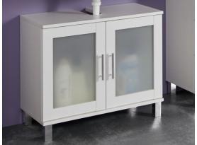 Kúpeľňová skrinka pod umývadlo Orlando, biela / satinované sklo